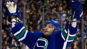 Vancouver Canucks' Christopher Higgins celebrates after scoring a goal against the Dallas Stars during the first period of an NHL hockey game in Vancouver, B.C., on Friday March 30, 2012. THE CANADIAN PRESS/Darryl Dyck