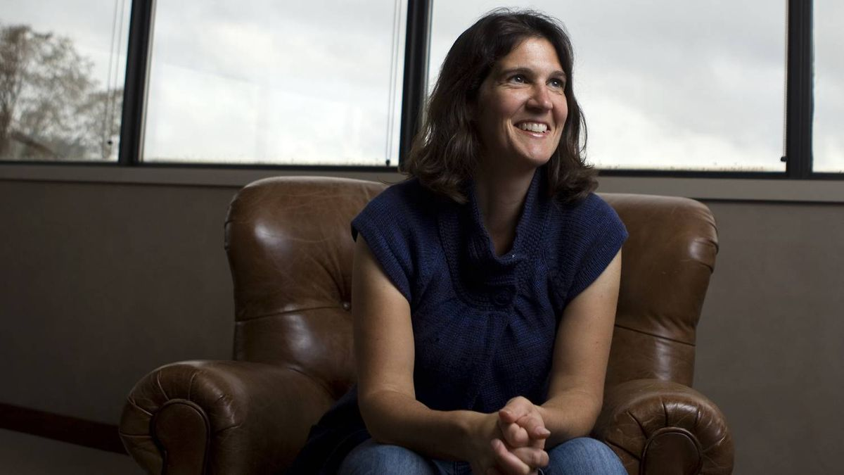Krista LaRiviere, co-founder and CEO of gShift Labs Inc. poses for a photo in her office in Barrie, Ont.