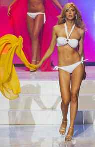 "Transgendered contestant Jenna Talackova takes part in the Miss Universe Canada competition while wearing her bikini in Toronto May 17, 2012. Talackova was originally disqualified from the Miss Universe Canada contest because she was not a ""naturally born female"". Talackova, 23, who underwent gender reassignment surgery when she was 19, was reinstated to the Canadian competition by businessman Donald Trump, who owns the Miss Universe organization."