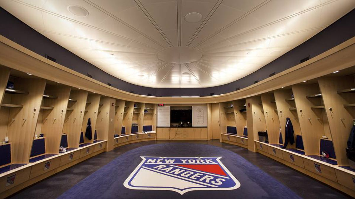 One of the first orders of business in the from-the-ground-up reno was to give 21st century digs to the Rangers and Knicks, whose locker rooms are adjacent and share many of the same medical and treatment facilities. The Rangers' new room is airy and expansive, and as seems to be the norm in new arenas, is roughly shaped like an arena.