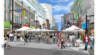 Drawing of Yonge Street closed to vehicular traffic during a street event.