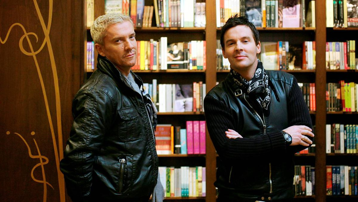 Justin Ryan, left, and Colin McAllister with their book, Home Heist Style Guide at Ben McNally books in Toronto. The duo have a show on HGTV called Colin & Justin's Home Heist.