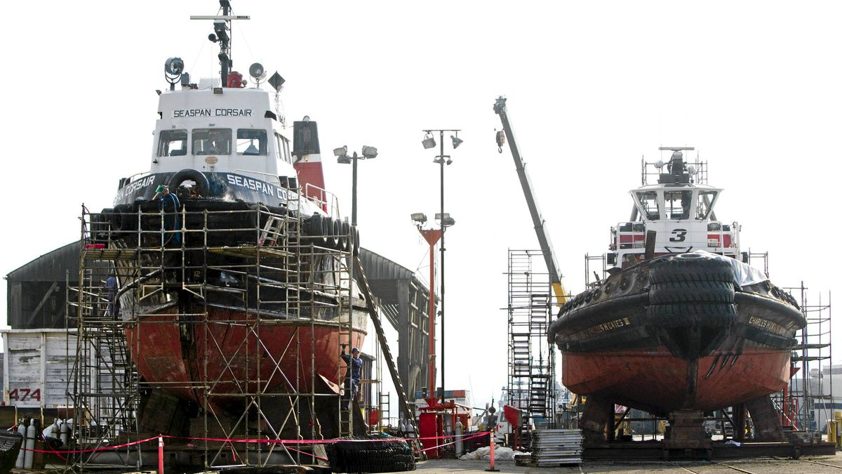 Two ships are seen on the dry dock at the Vancouver Shipyard in North Vancouver, Wednesday, Oct. 19, 2011.