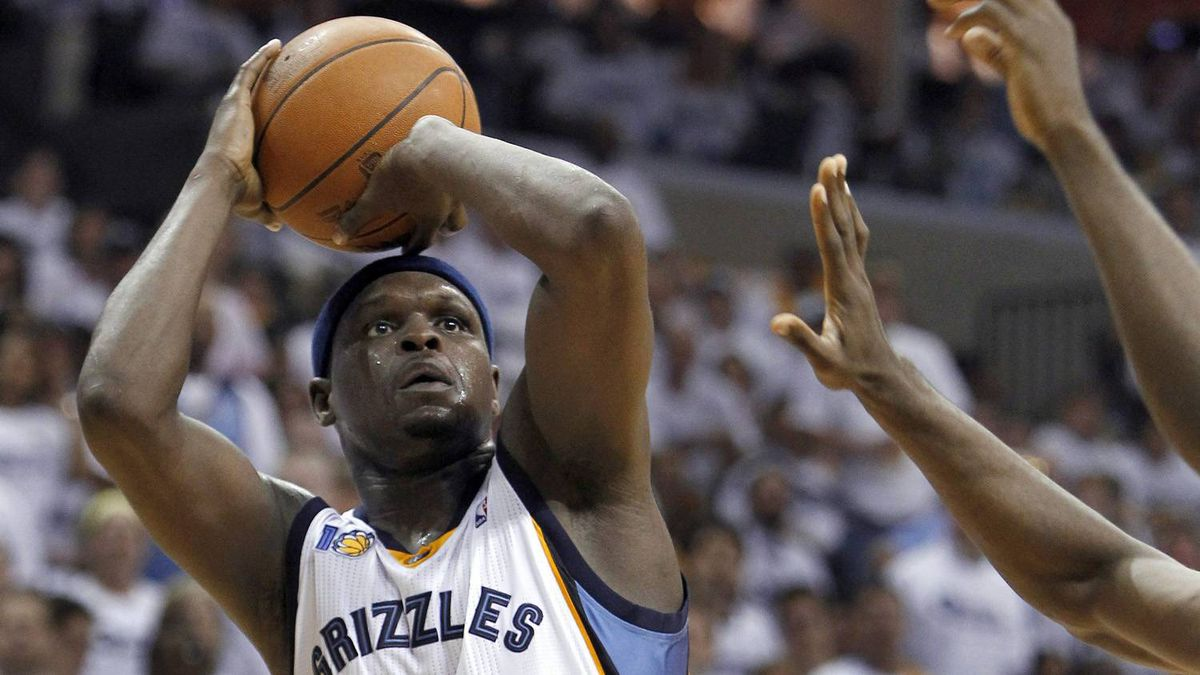 Memphis Grizzlies forward Zach Randolph shoots against the Oklahoma City Thunder during the first half of Game 4 of a second-round NBA basketball playoff series on Monday, May 9, 2011, in Memphis, Tenn.