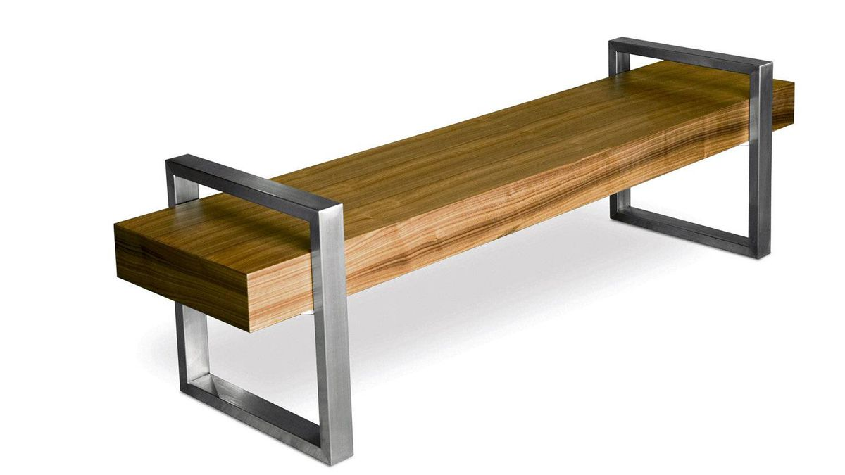 Gus* Modern's sleek Return Bench features a macassar, zebrano or walnut beam floating between two stainless-steel frames. $850 at furniture stores across Canada (visit www.gusmodern.com for retailers).