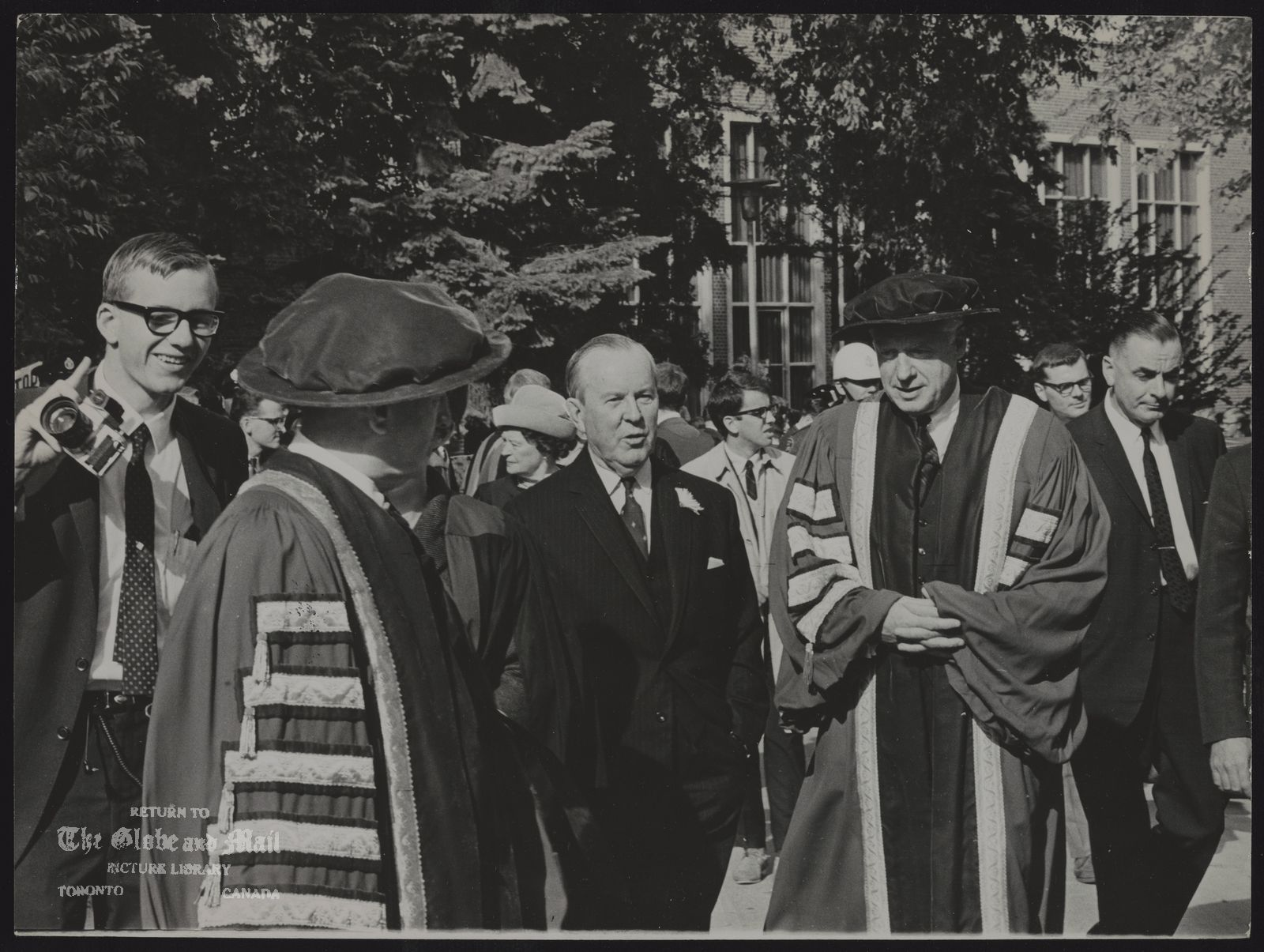 LESTER PEARSON Lester Pearson, centre, and Murray Ross, President of York University on campus.