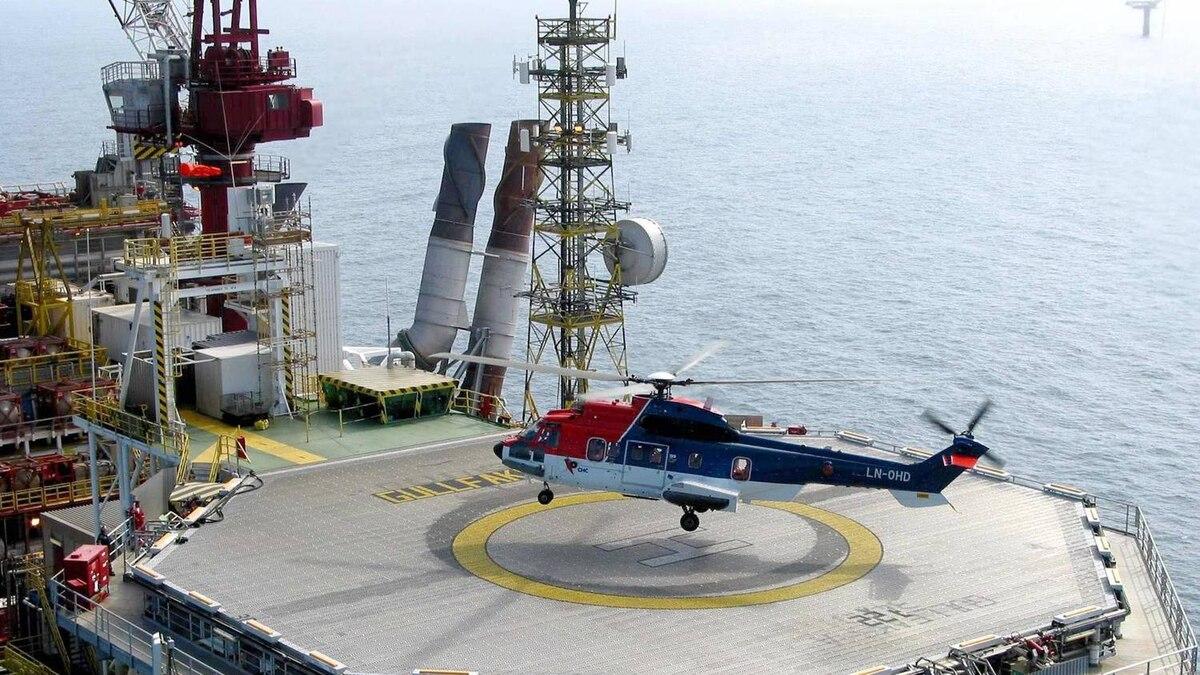 A CHC helicopter is about to touch down at a Statoil platform in the Norwegian North Sea