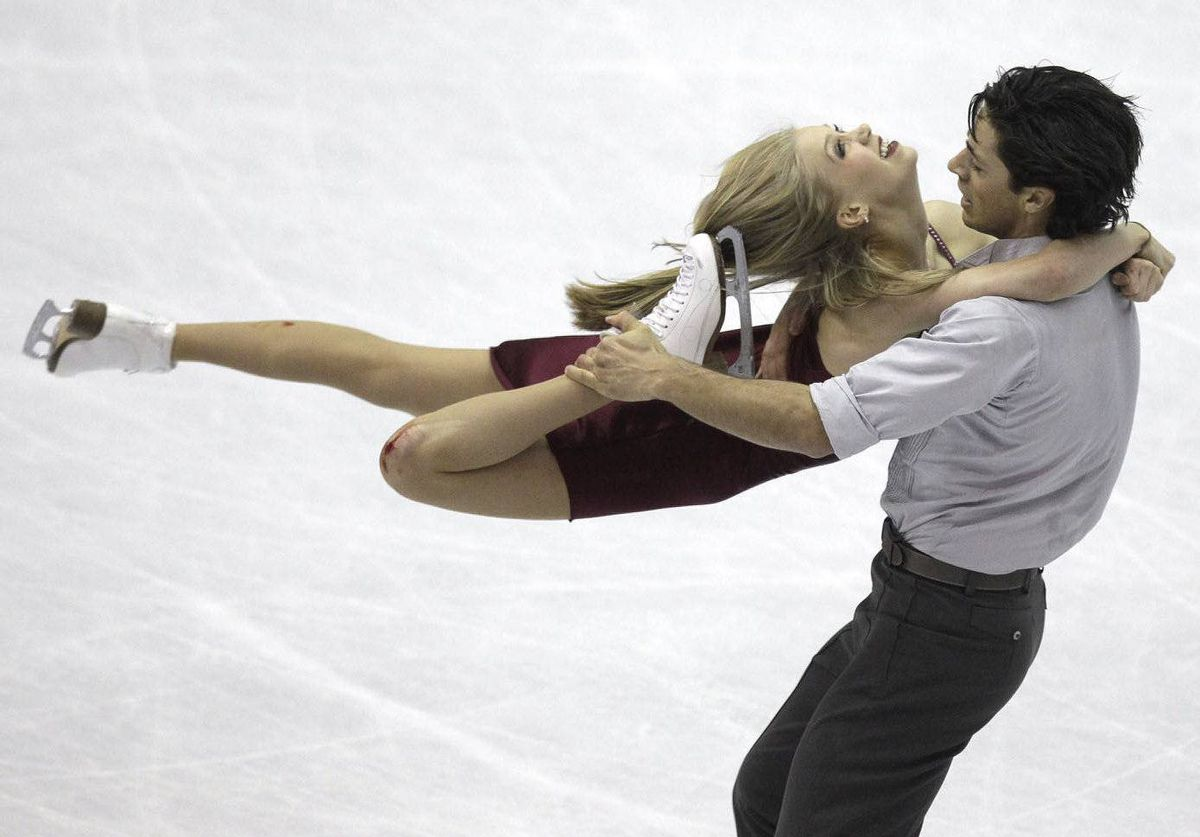 Canadian ice dancers Kaitlyn Weaver and Andrew Poje perform during their ice dance free program at the 2012 World Figure skating Championships in Nice, France.