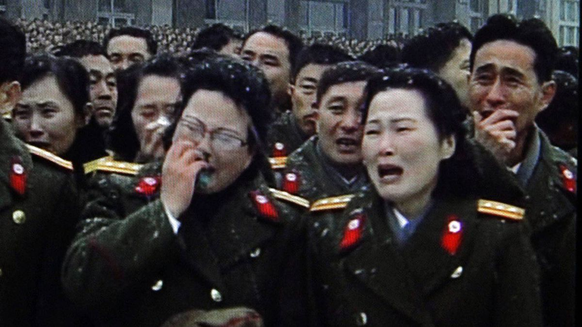 In this image made from KRT video, North Korean military personnel cry during a funeral for late North Korean leader Kim Jong Il, in snowy Pyongyang, North Korea, Wednesday, Dec. 28, 2011.