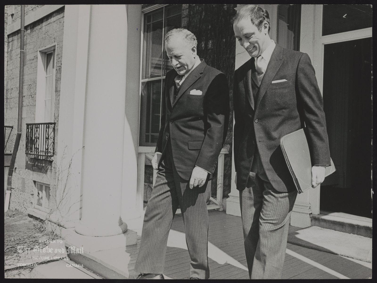 Pierre Elliott TRUDEAU Politician. Governor General Roland Michener, left, with Prime Minister Pierre Trudeau