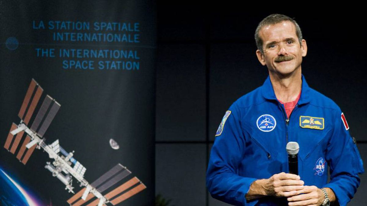 Astronaut Chris Hadfield smiles during a press conference at the Canadian Space Agency, Longueuil, Que., September 2, 2010, announcing him as the first Canadian commander of the International Space Station when he leaves in December, 2012.