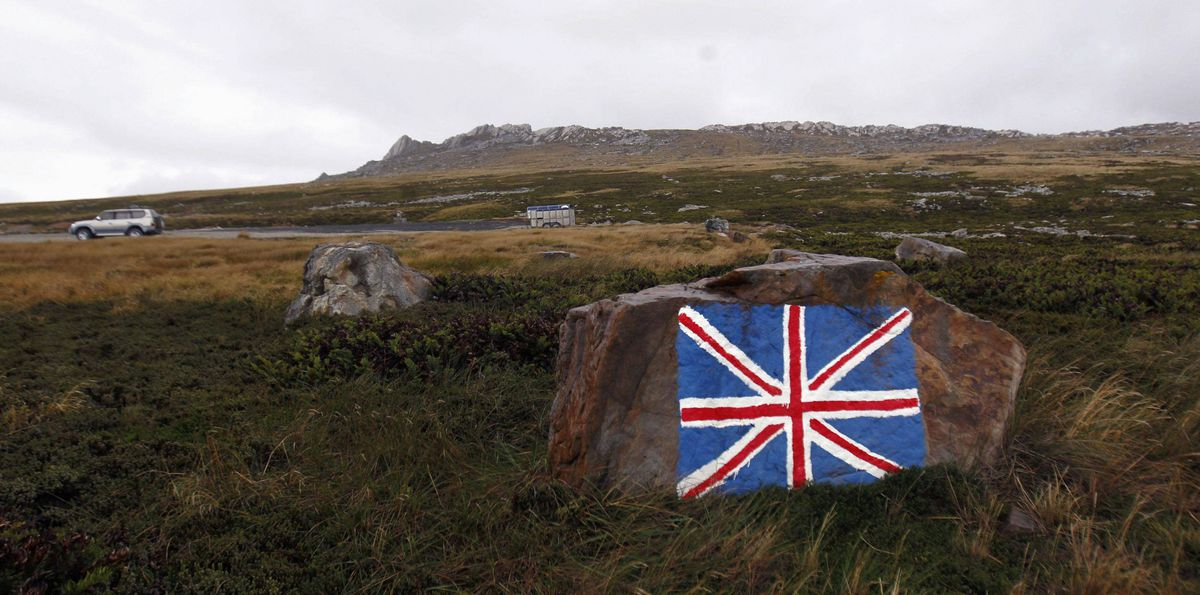 A rock painted with the Union Jack flag, is seen near Port Stanley March 11, 2012.