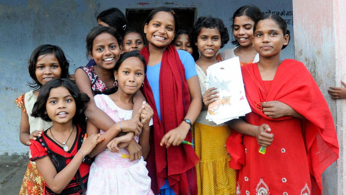 A group of students from the Prerna Residential School for Girls in Patna, Bihar. The school houses, feeds and educates more than 100 students.