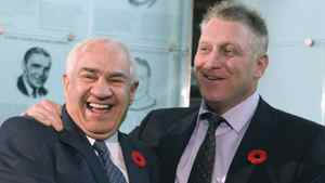 Hockey Hall of Fame selection committee co-chair Jim Gregory, left, and Brett Hull share a laugh after the Golden Brett received his induction ring Monday morning.