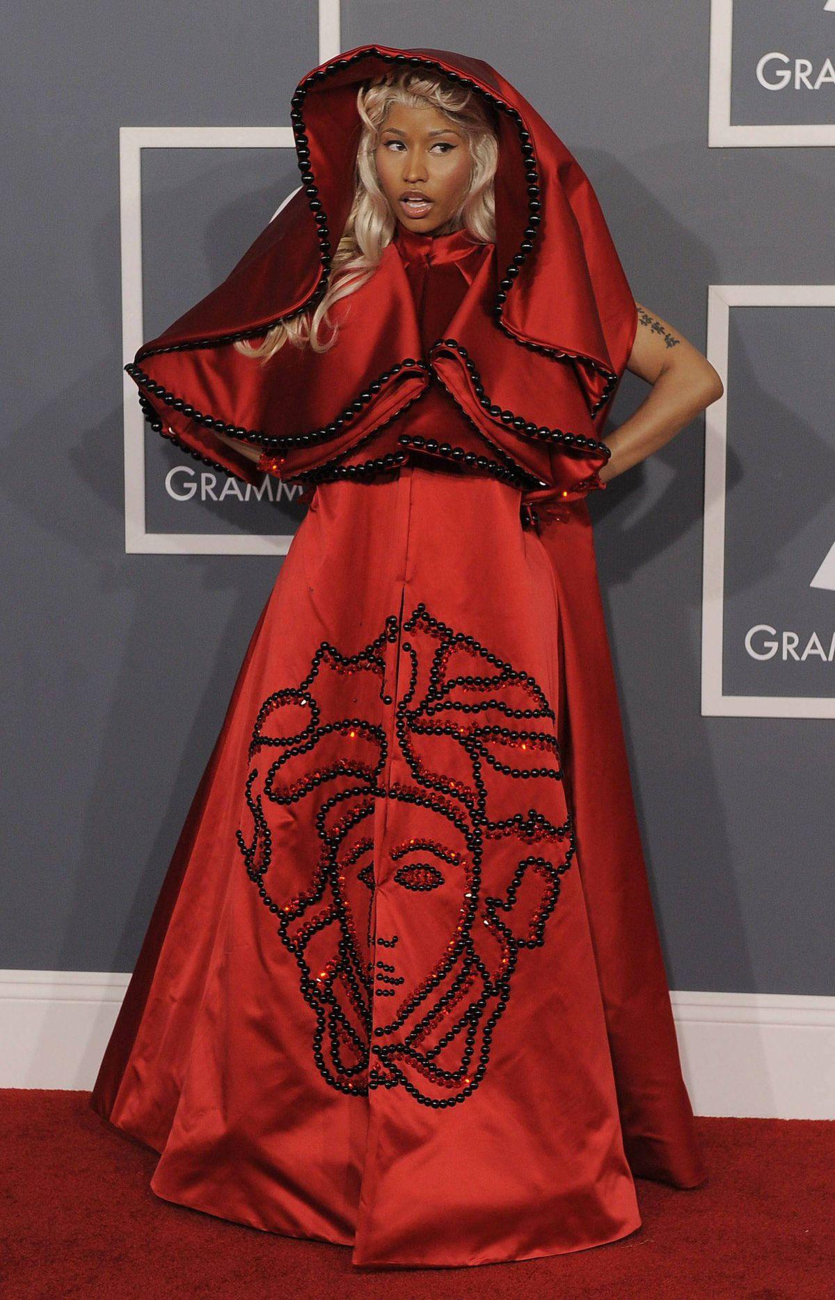 Nicki Minaj arrives at the 54th annual Grammy Awards on Sunday, Feb. 12, 2012 in Los Angeles.