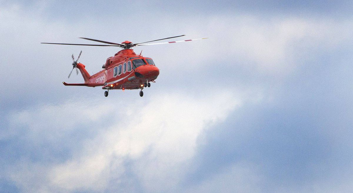 An air ambulance helicopter lands at Toronto Island airport on Jan. 27, 2012.