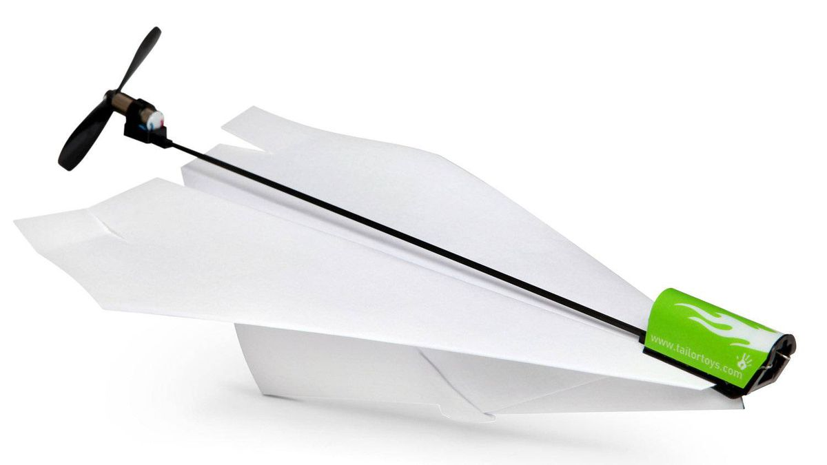 Electric Paper Airplane Conversion Kit Making precisely engineered paper airplanes is an art not easily mastered. An easier way to keep your lightweight flier aloft is to add an engine and a propeller. The Electric Paper Airplane Conversion Kit attaches in a jiffy, charges in seconds and provides half a minute of soaring flight. It's not cheating if it's science. ($19.99; www.thinkgeek.com)