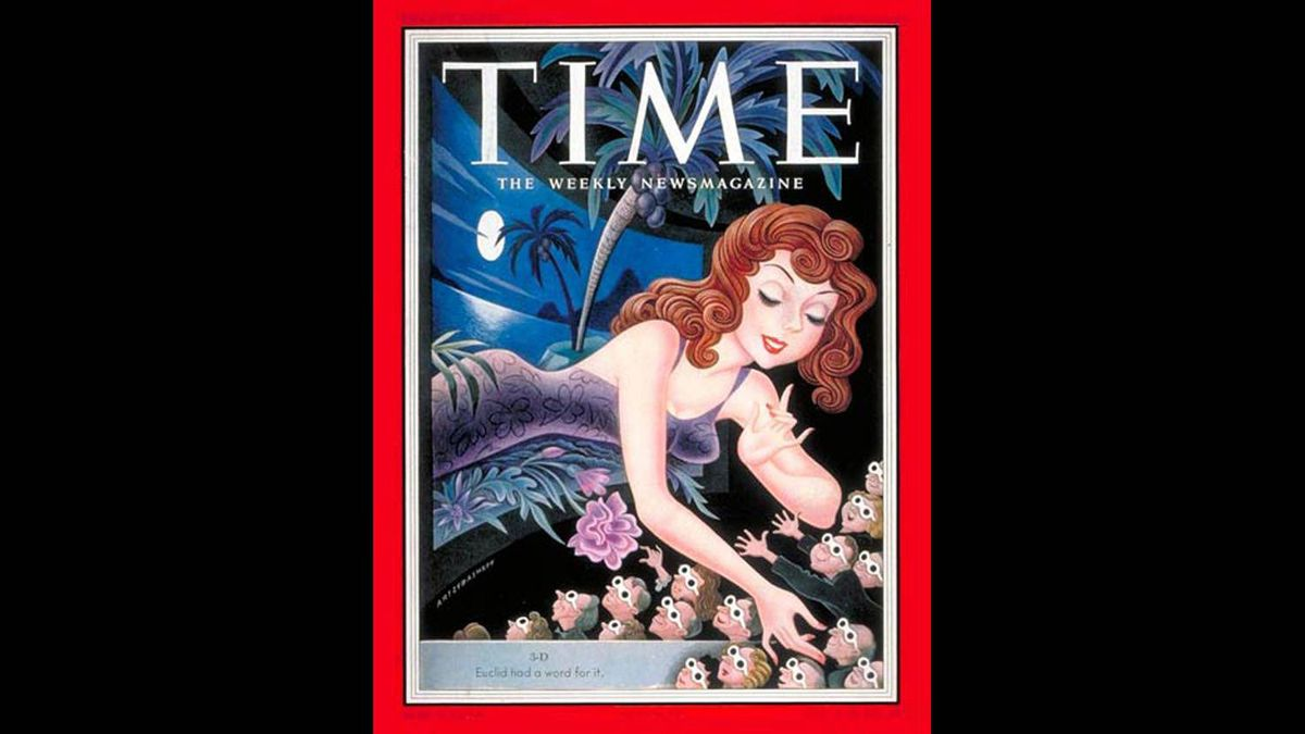 In 1953, Time magazine celebrates the arrival of 3-D movies, a fad that includes It Came From Outer Space and Cat Woman on the Moon.