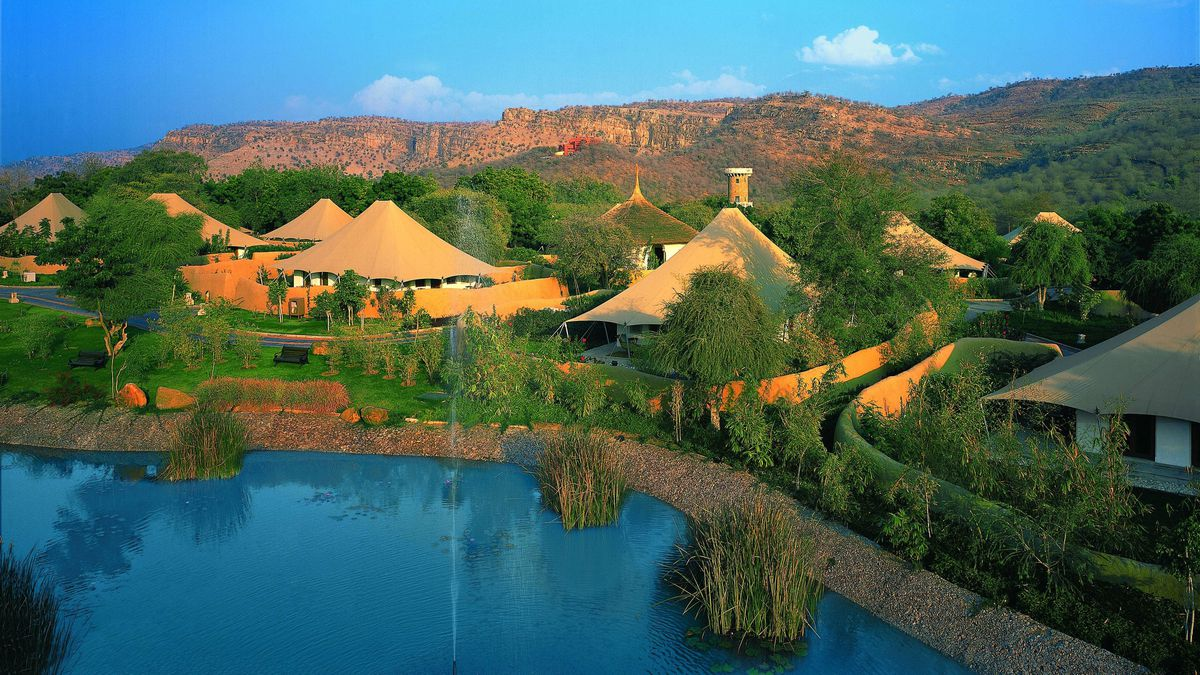 The luxury tents of Oberoi Vanyavilas in Ranthambhore, India spread over 20 acres. The resort sits on the edge of a tiger sanctuary and offers daily jungle drives.