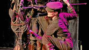 "Puppeteers show off one of the puppet stars of ""War Horse"" at the Princess of Wales Theatre in Toronto on Feb. 7, 2011."