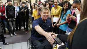 In preparation for the 25th anniversary of his Man in Motion Tour, Canadian Paralympian and activist Rick Hansen meets with students from Rick Hansen Secondary School on Mississauga to launch an online contest aimed to get 7,000 participants willing to take turns re-creating his original 12,000 kilometre trek across Canada.