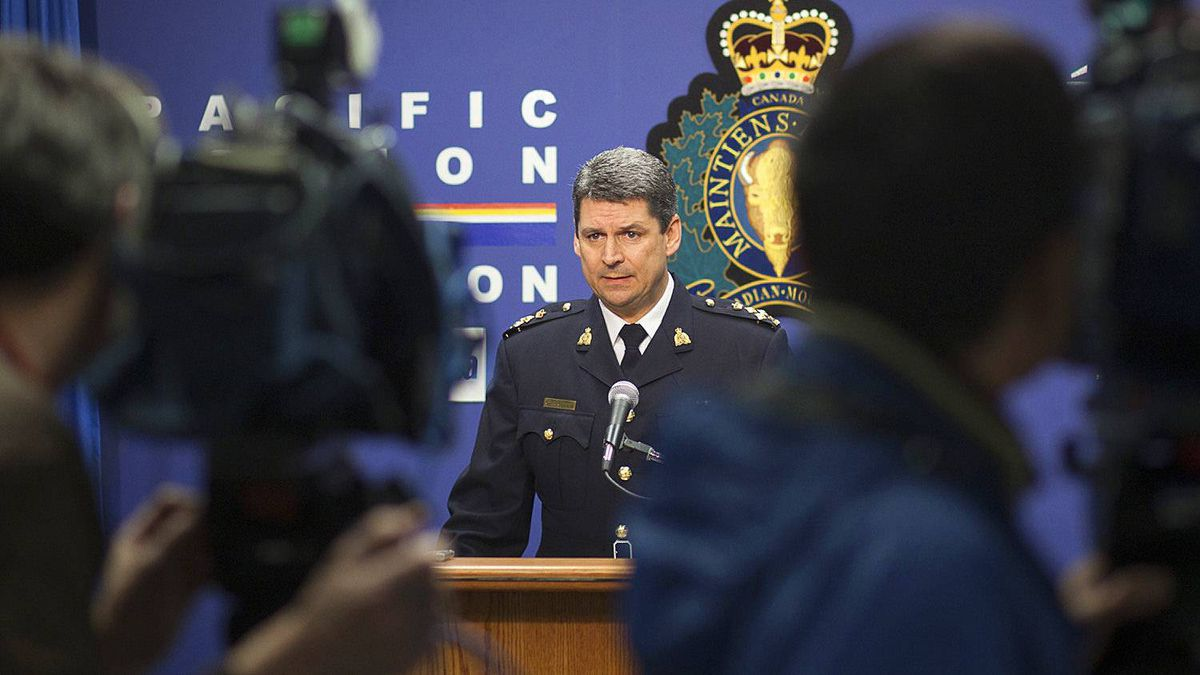 "Assistant Commissioner Craig Callens, newly appointed Commanding Officer of RCMP ""E"" Division, speaks to media on Dec. 9 at a press conference at Division Headquarters."