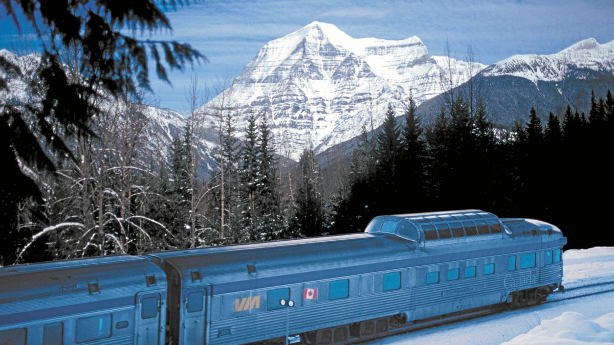 The Canadian at the base of the Rocky Mountains in the winter.