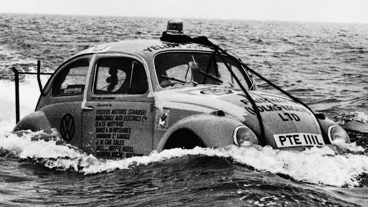 A 1960s VW Beetle turned into a boat for a publicity stunt. The car's sealed underbody made it buoyant.