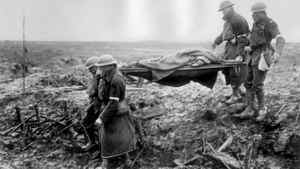 Canadians wounded in the savage First World War fighting at Passchendaele in Flanders are evacuated by stretcher bearers.