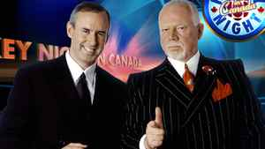 Ron MacLean (left) and Don Cherry on CBC's Hockey Night in Canada. CBC