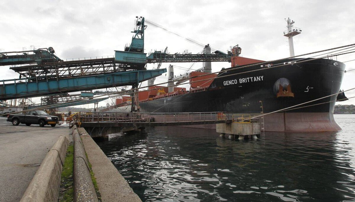 The Genco Brittany of Brazil is loaded with potash at Neptune Bulk Terminals in Vancouver.
