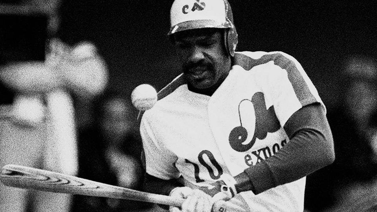 Montreal Expos Andre Dawson is hit by a pitch thrown by Pittsburgh Pirates Rick Rhoden in Montreal, June 8, 1983. Former Montreal Expo Dawson has been elected to the Baseball Hall of Fame.THE CANADIAN PRESS/Pierre Obendrauf