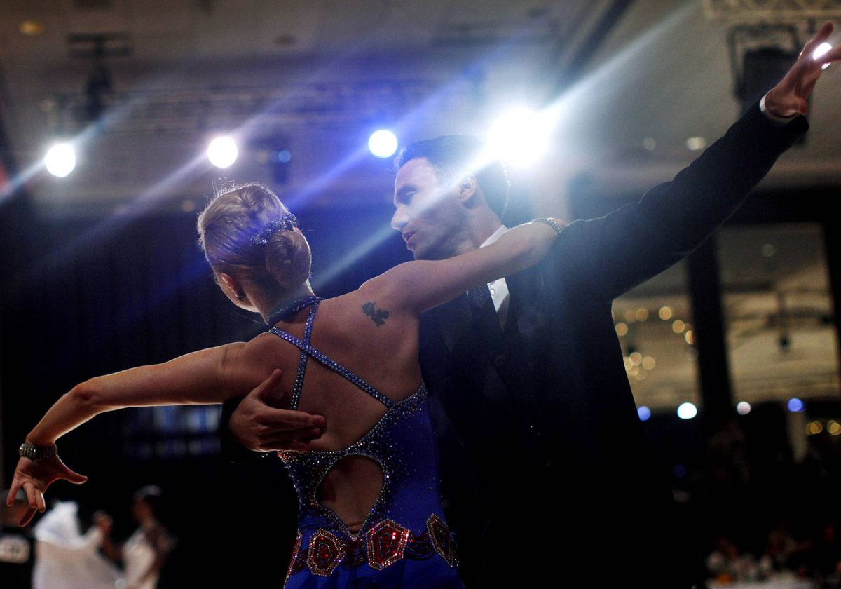 Ballroom dancers compete during the Arthur Murray International 2012 World Dance-O-Rama in New York City, March 23, 2012.