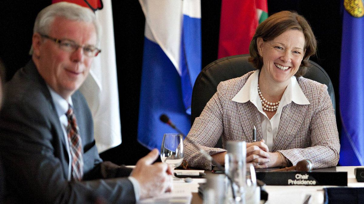 Manitoba Premier Greg Selinger and Alberta Premier Alison Redford take part in the Western Premiers Conference in Edmonton Tuesday, May 29, 2012.