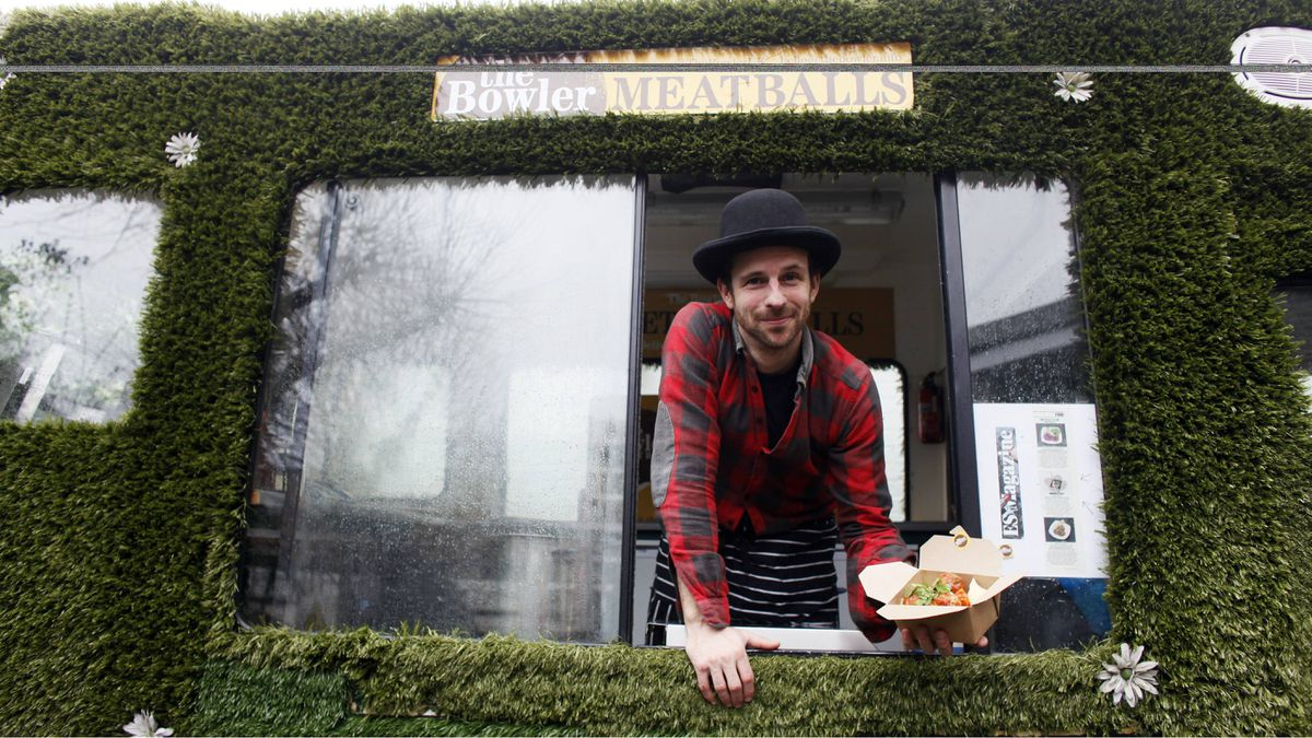 Jez Felwick, a.k.a. The Bowler, sells home-made meatballs from his van in London.