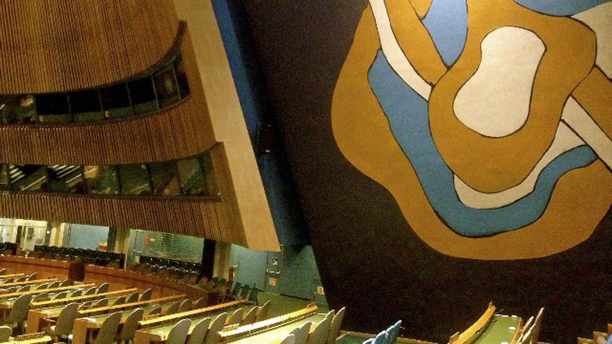 An interior view of the General Assembly at UN headquarters in New York.