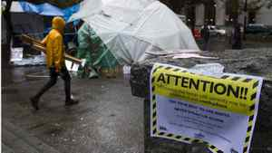 A warning about drugs is posted in the Occupy Vancouver encampment.