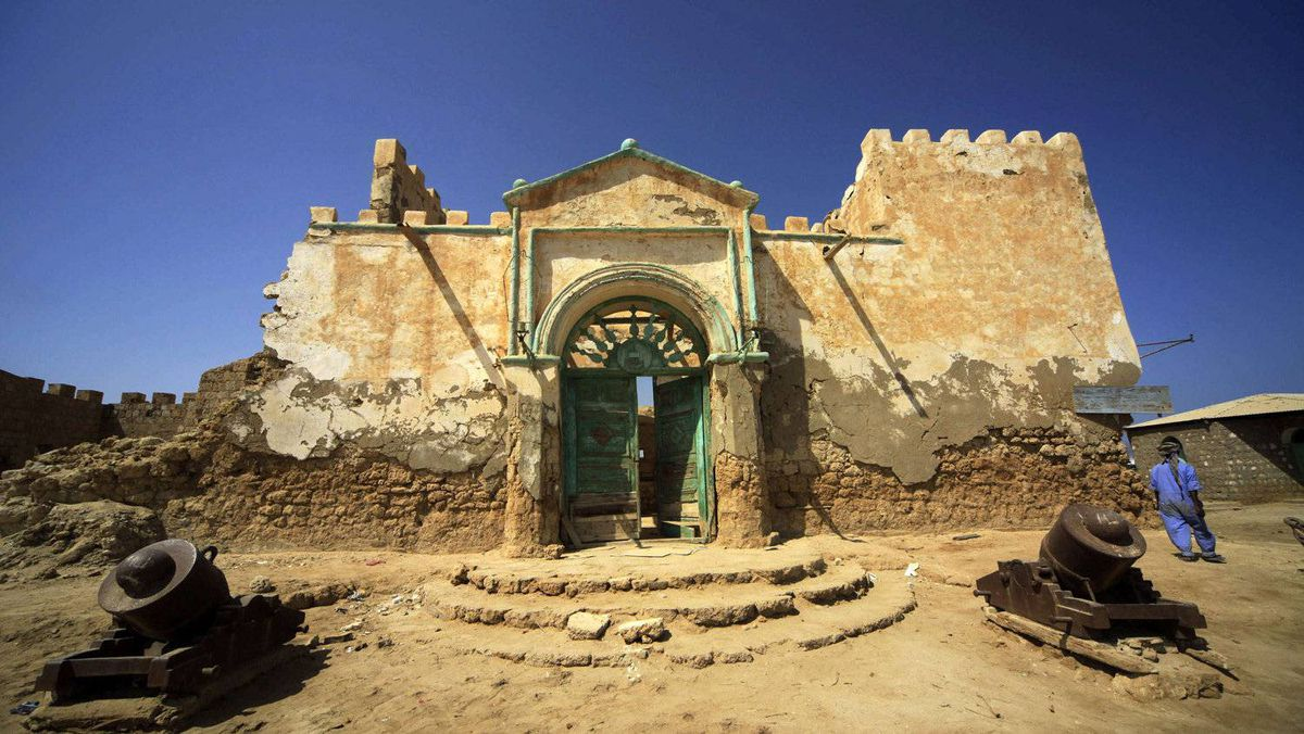 The gate of old building is seen in Suakin, in the Red Sea state in Sudan. Sudan is trying to attract tourism to the Red Sea state, and a Turkish company is helping to restore old buildings in the port of Suakin as part of efforts to make the town more attractive to visitors.