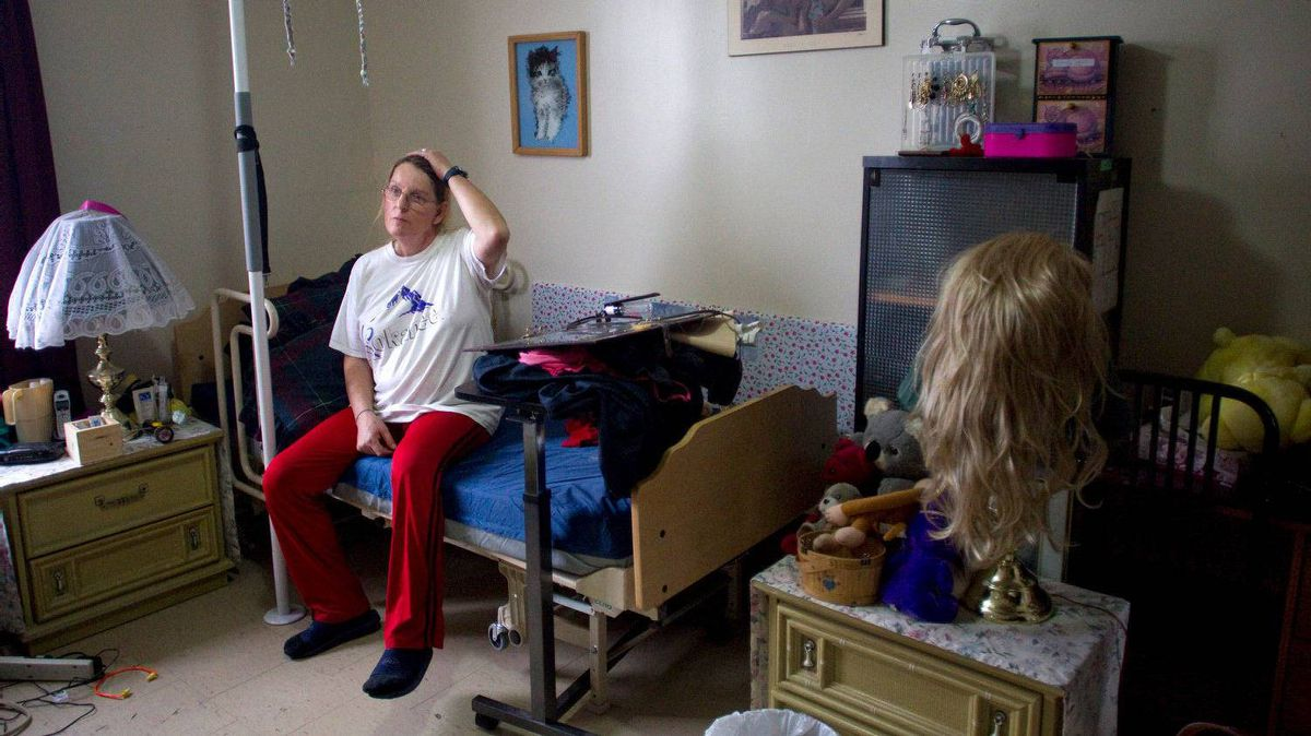 Diane Lalonde is pictured her apartment in a Toronto community housing building in the city's east end on Feb. 16, 2012.