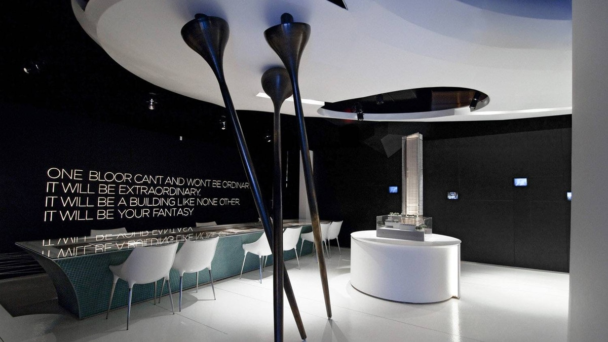 Back in Toronto, the One Bloor Sales Centre also scooped up a grand prize for its category in the 2012 ARE design awards. Eventscape fabricated and installed feature elements in the condo sales centre designed by Cecconi Simone Inc.