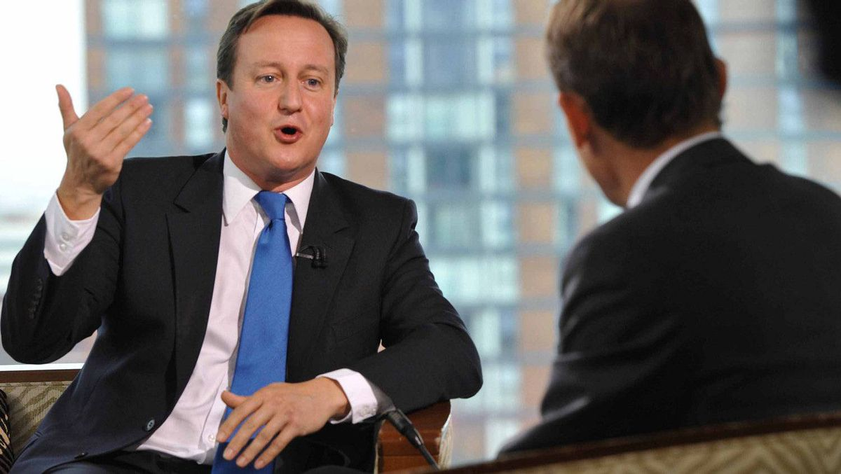 Prime Minister David Cameron appears on the Andrew Marr Show on the BBC during the first day of the Conservative Party's annual conference, Oct. 2, 2011, in London, England.
