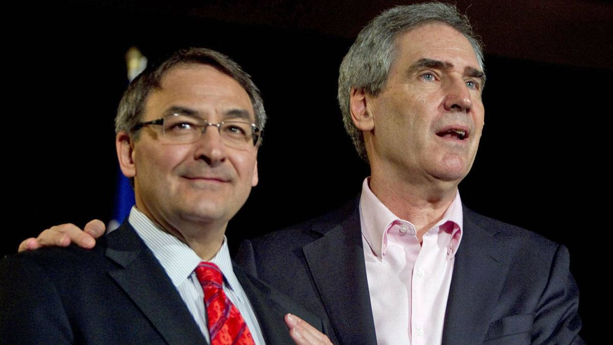 Liberal Leader Michael Ignatieff campaigns with Outremont candidate Martin Cauchon on April 21, 2011 in Montreal.