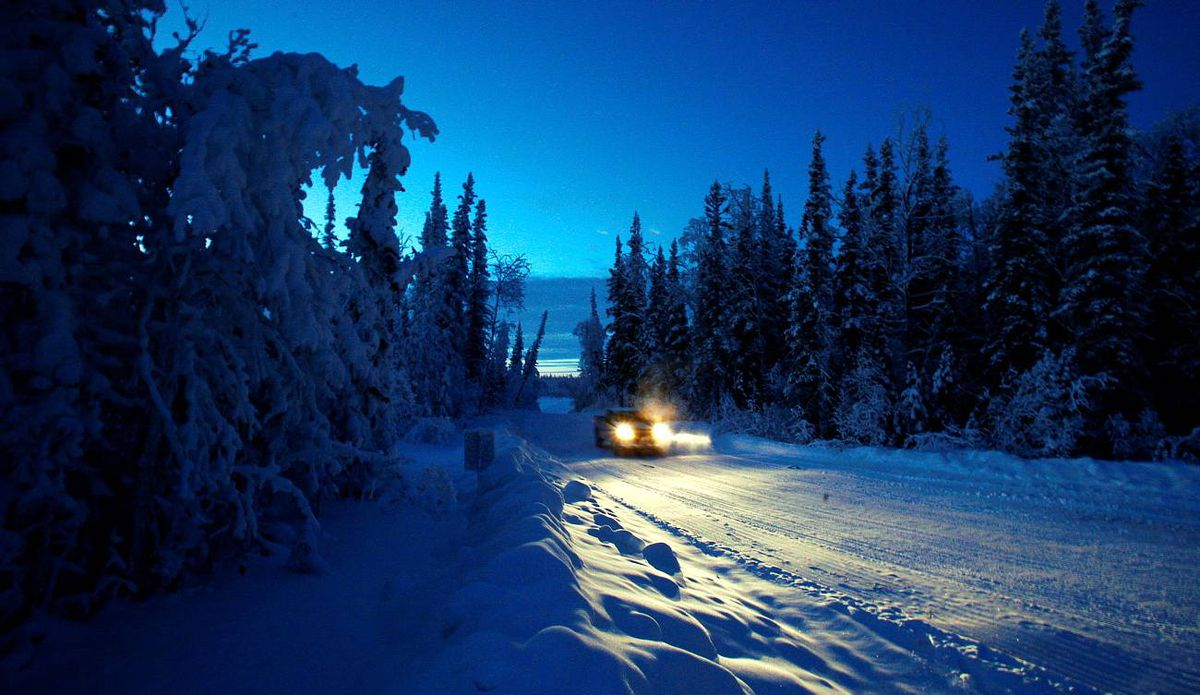 The winter road from Norman Wells to Fort Good Hope, NWT, roughly marks the route of the proposed Mackenzie Valley natural gas pipeline.