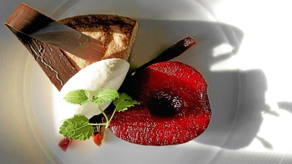 Pecan pound cake with sour cream sorbet and poached pears at LUPO Restaurant.