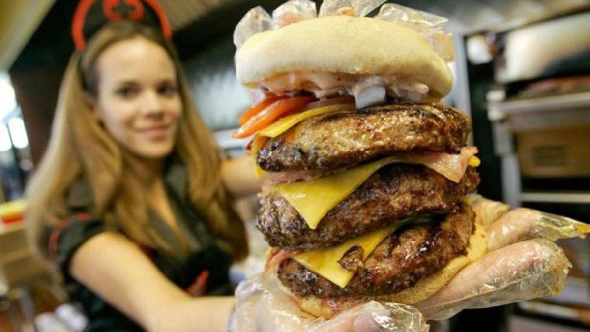 One of the burgers on offer at the Heart Attack Grill in Las Vegas.