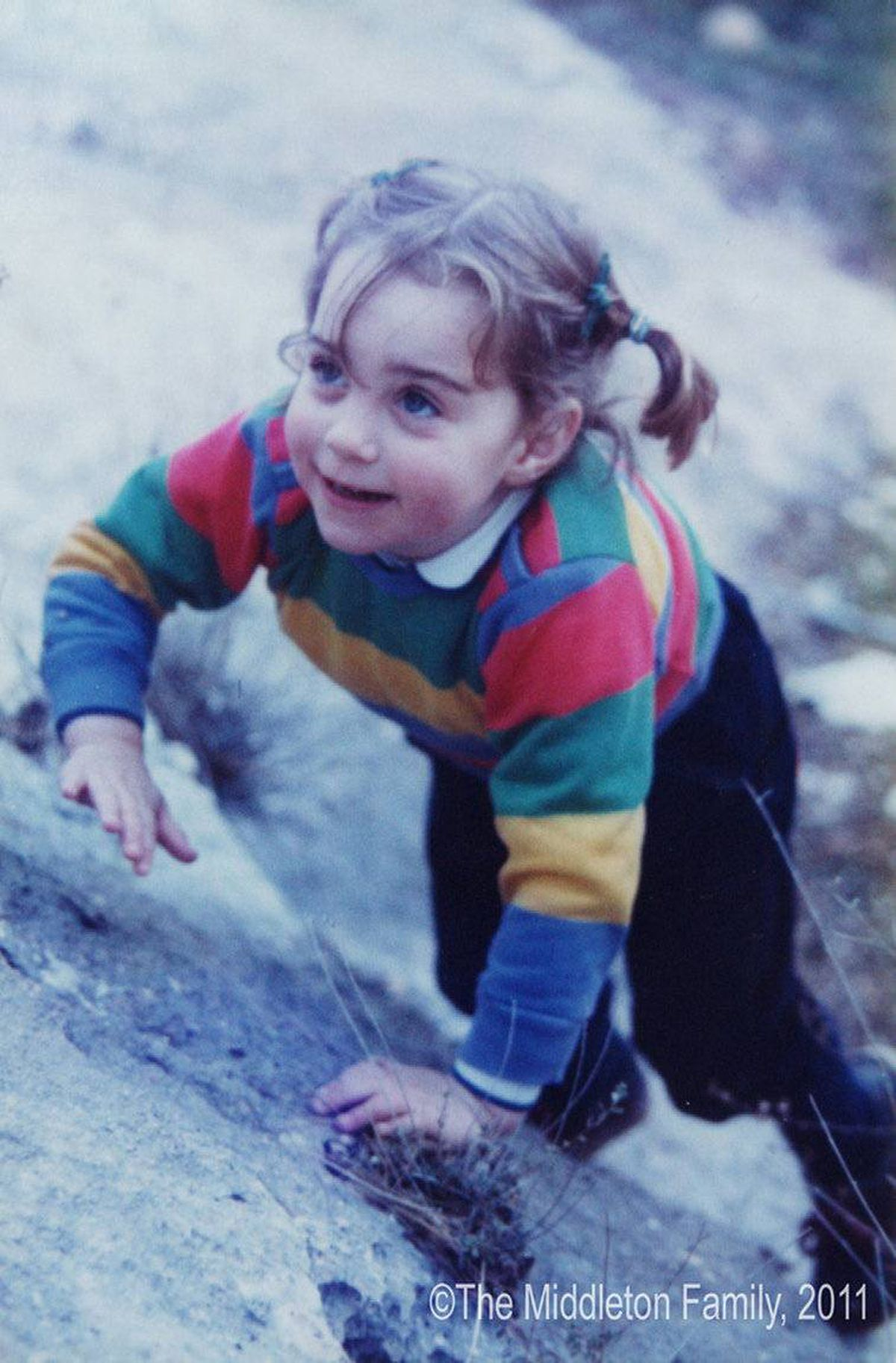 A three-year-old Kate Middleton on holiday in the Lake District, north-west England.
