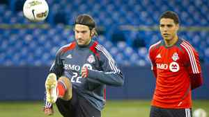Torsten Frings, left, and Luis Silva of the Toronto FC practise at the Rogers Centre, Tuesday.