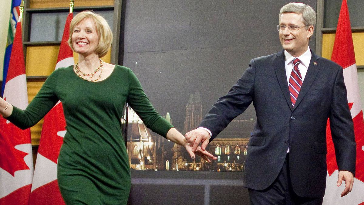 Conservative Leader Stephen Harper and his wife, Laureen, leave a news conference after the English-language debate in Ottawa on April 12, 2011.