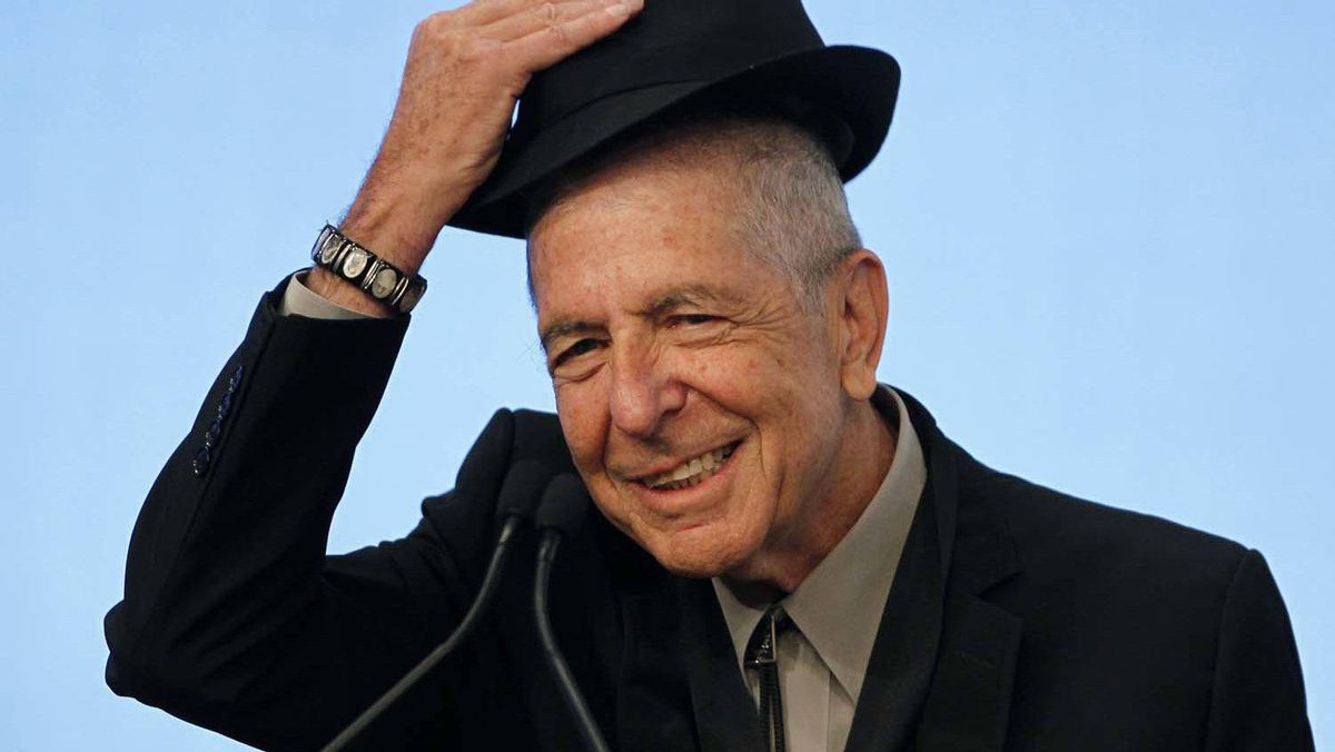 Leonard Cohen tips his hat to the audience as he accepts the 2012 Awards for Song Lyrics of Literary Excellence, which was awarded to both he and Chuck Berry at the John F. Kennedy Presidential Library and Museum, in Boston, Mass., on February 26, 2012