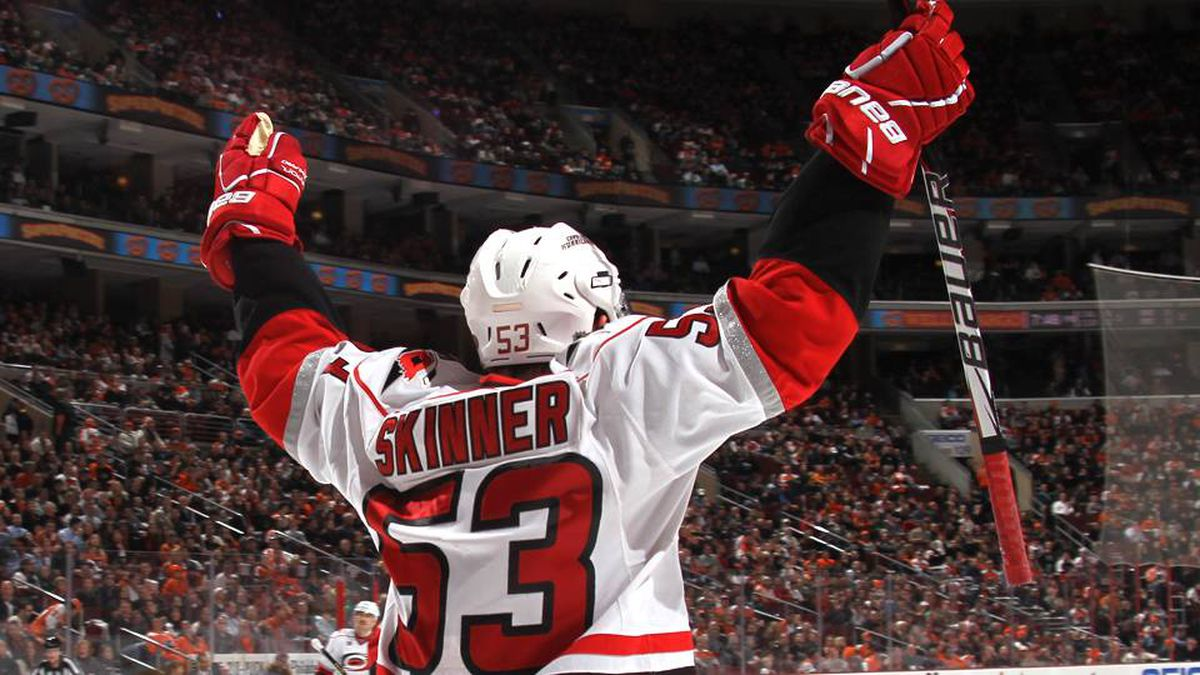 Jeff Skinner of the Carolina Hurricanes celebrates his goal at 19:45 of the first period against the Philadelphia Flyers at the Wells Fargo Center on November 21, 2011 in Philadelphia.